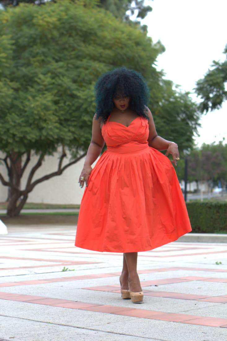 Marie Denee in eShakti Dress on the Curvy Fashionista