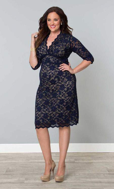 Kiyonna Scalloped Boudoir Lace Plus Size Dress
