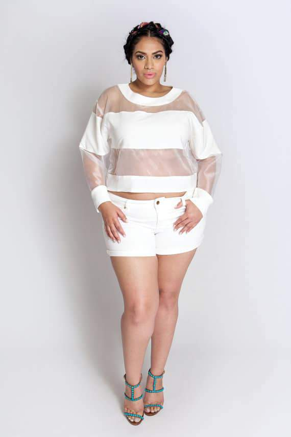 Youtheary Khmer Plus Size Sheer Panel Top