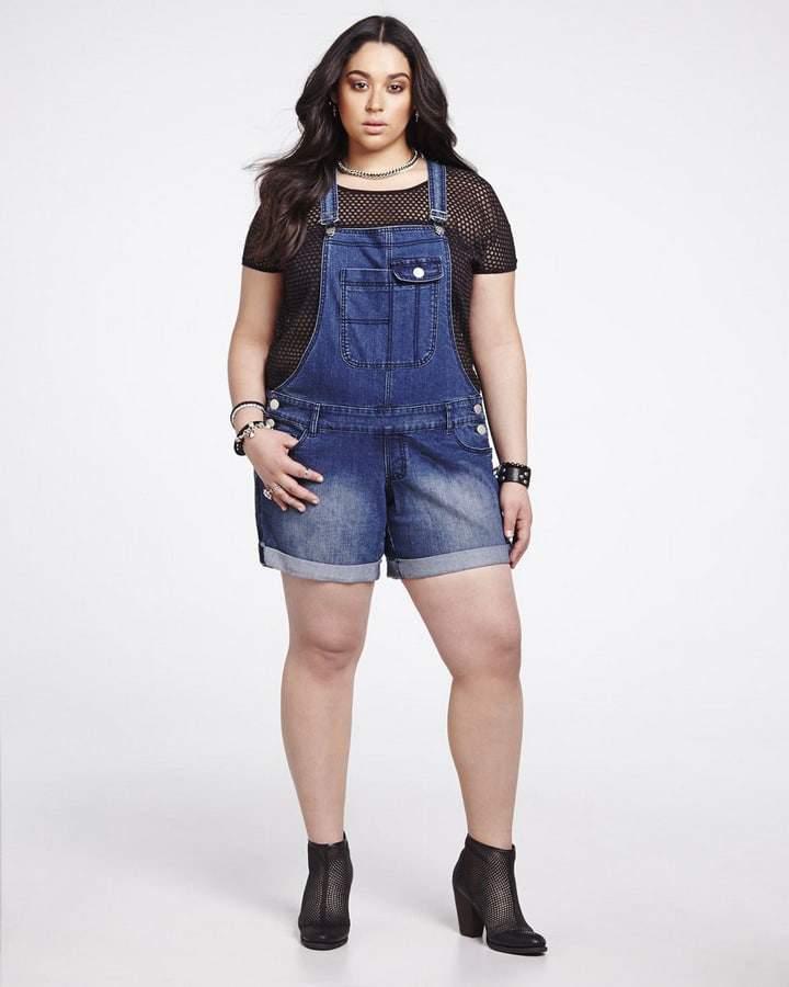 Addition Elle Plus Size Denim Short Overalls on The Curvy Fashionista