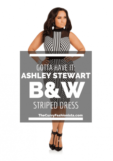 Ashely Stewart Black and White Striped Dress