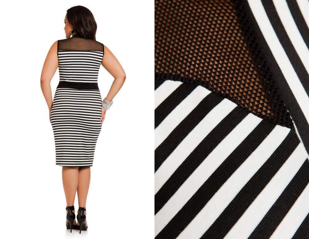 Ashley Stewart Black and White Striped Mock Turtleneck Dress