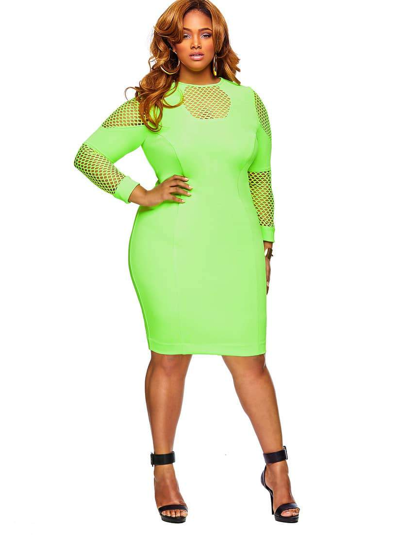 Monif C Plus Sizes Spring 2014 Alice Dress in Neon Green on The Curvy Fashionista