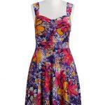 Tropical floral print front tied dress at eshakti