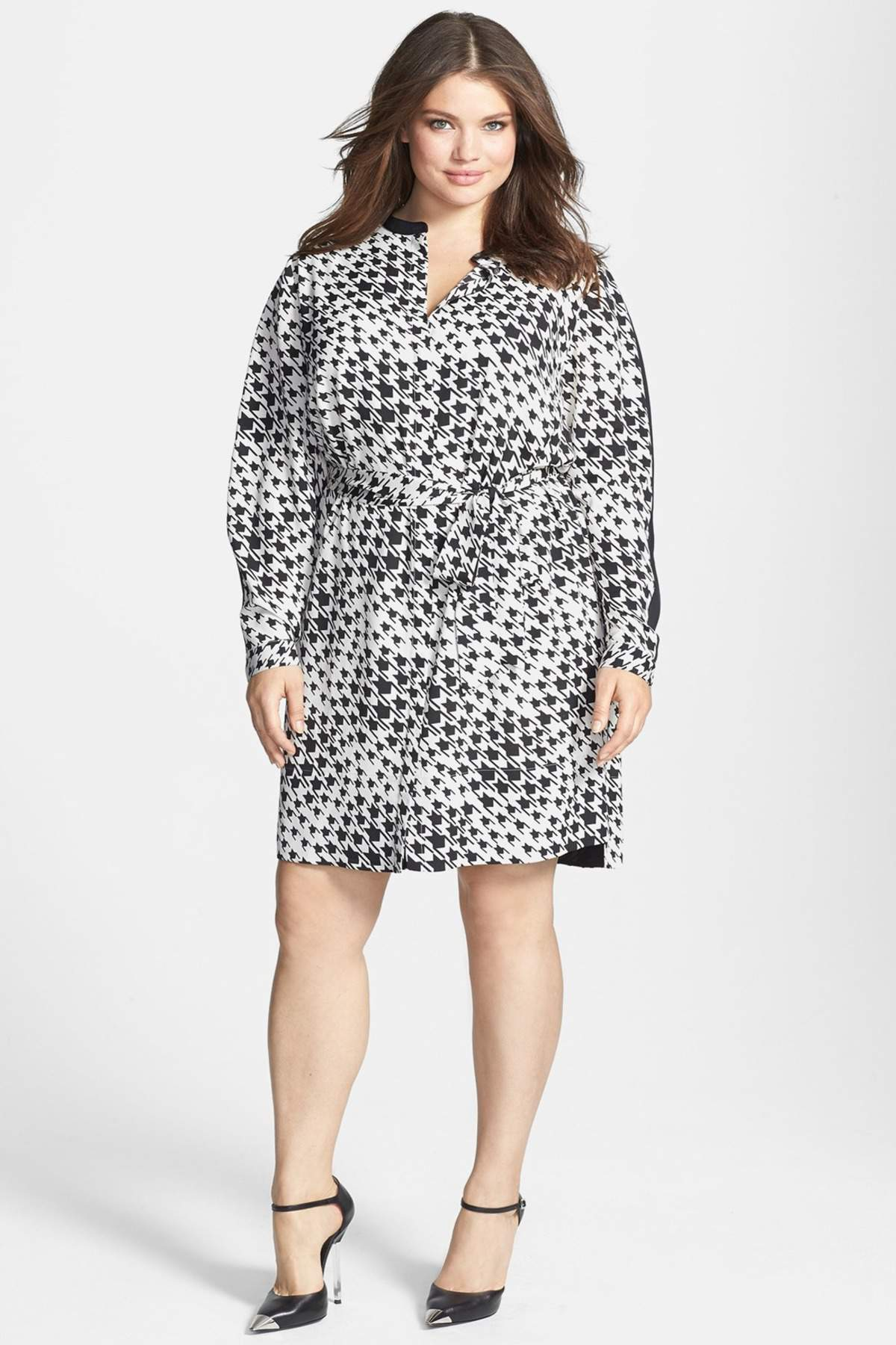 DKNYC Plus Size Contrast Trim Print Belted Shirtdress at Nordstrom Rack