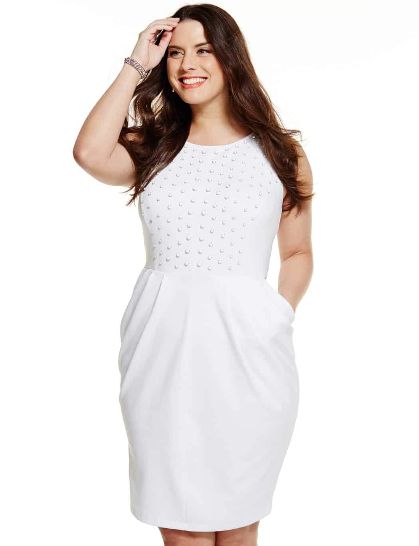 Eloquii Studio Tonal Studded Ponte Plus Size Dress