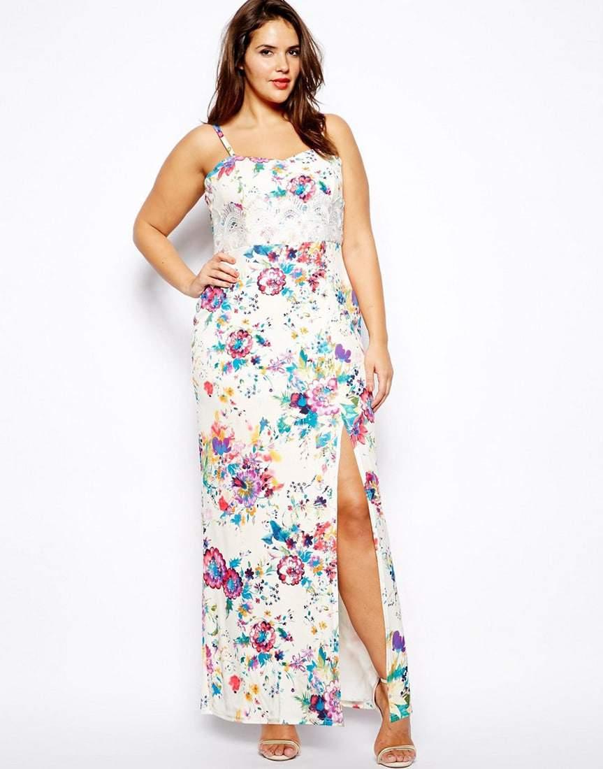 Floral Print Maxi Dress by Lipstick Boutique Plus at ASOS Curve-Plus Size Maxi Dresses on The Curvy Fashionista