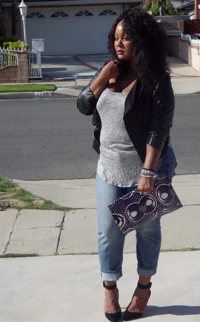 Laid Back in My Addition Elle Boyfriend Jeans on The Curvy Fashionista