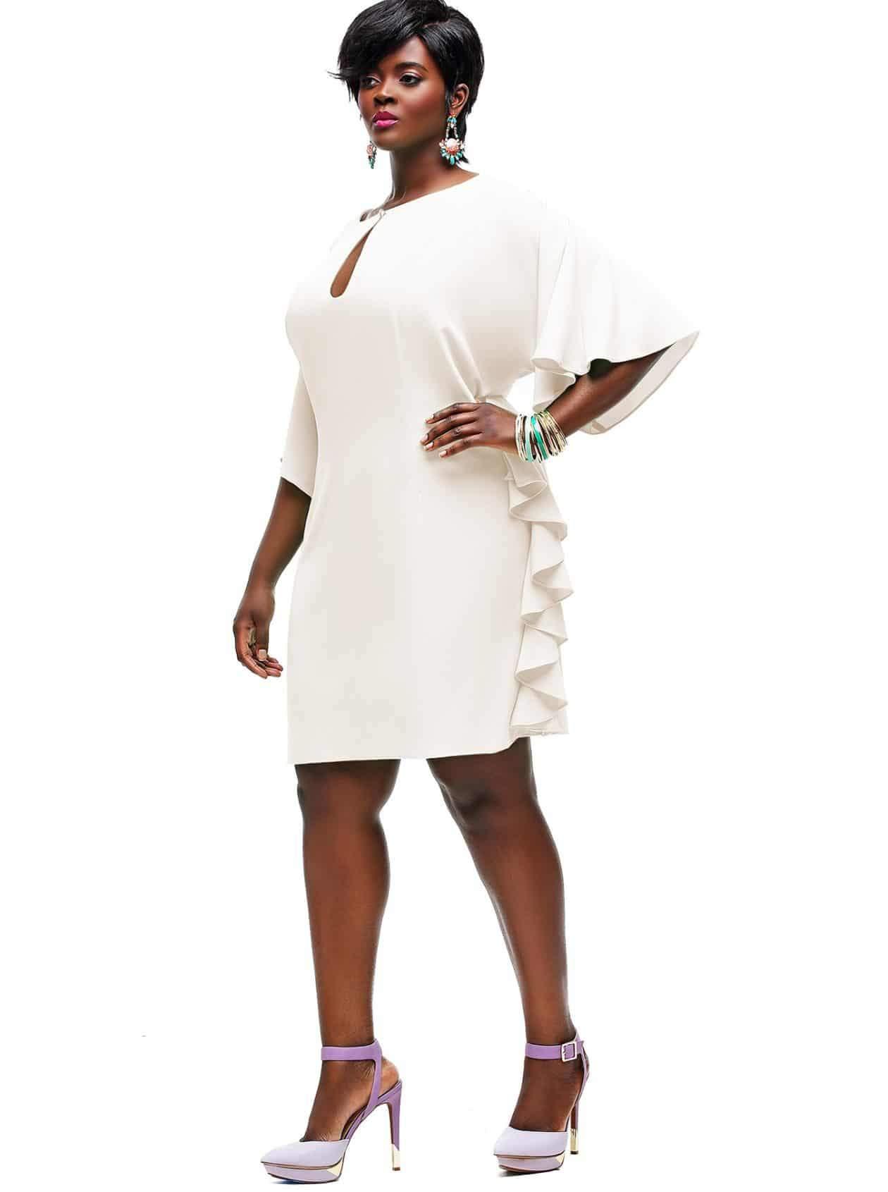 Monif C Plus Sizes- Indiana Ruffle Shift Dress