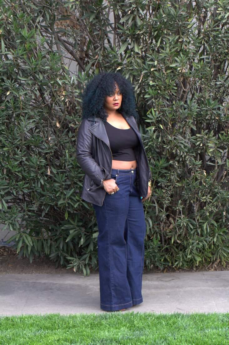 Marie Denee in plus size wide leg jeans