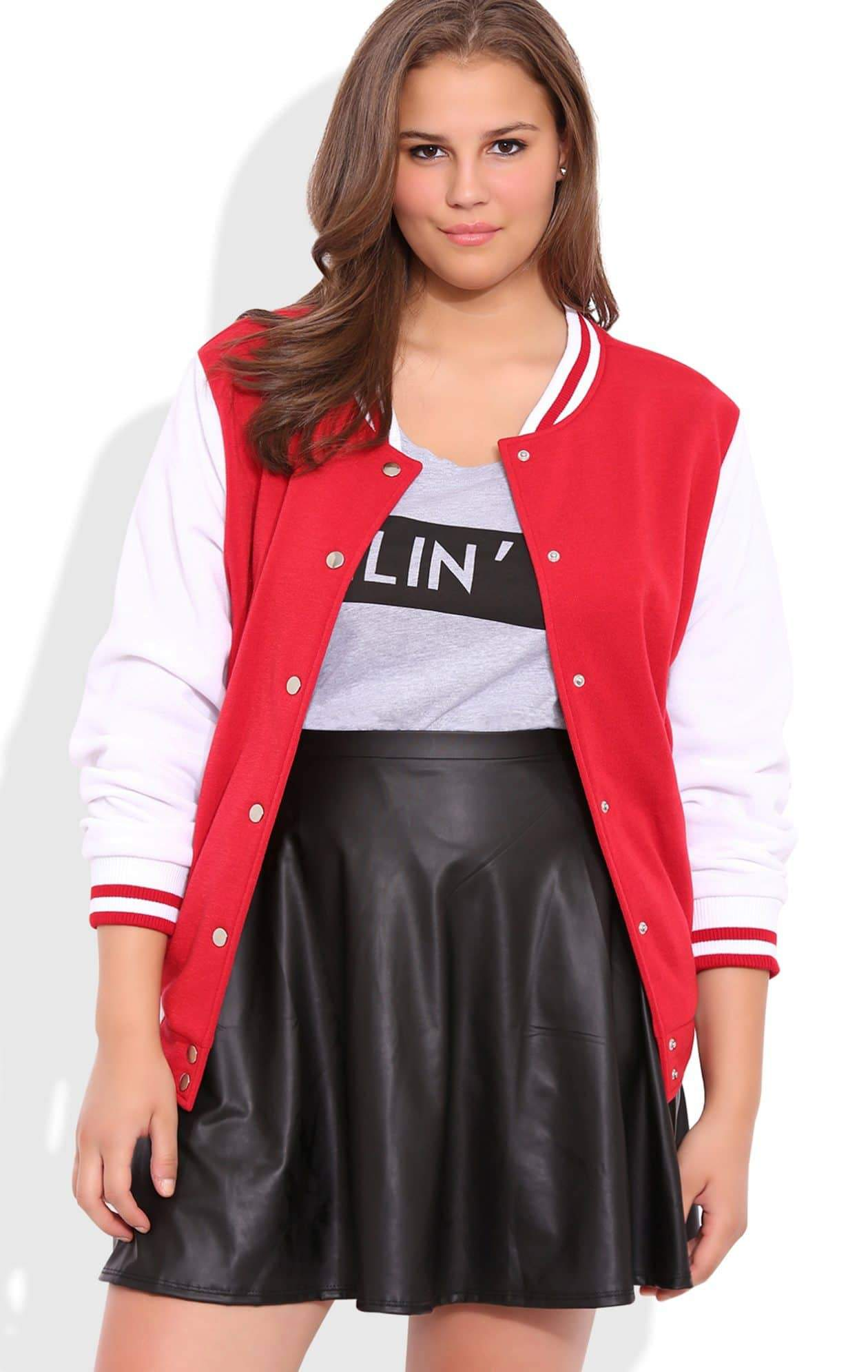 Plus Size Varsity Jacket with Snap Front from Deb Shops