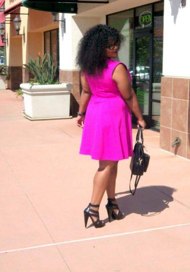 Marie Denee in Addition Elle Pink Seamed Dress