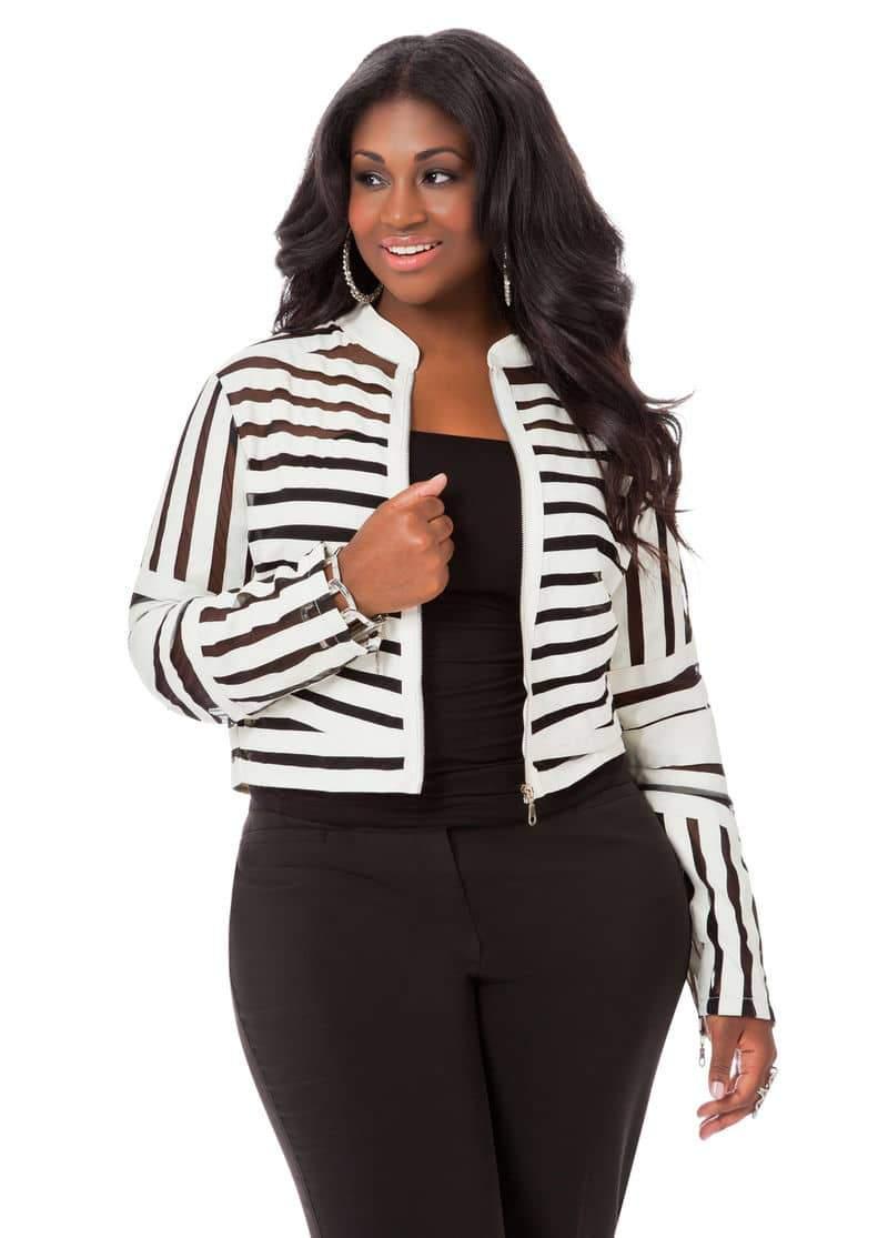 Ashley Stewart Mesh Striped Jacket