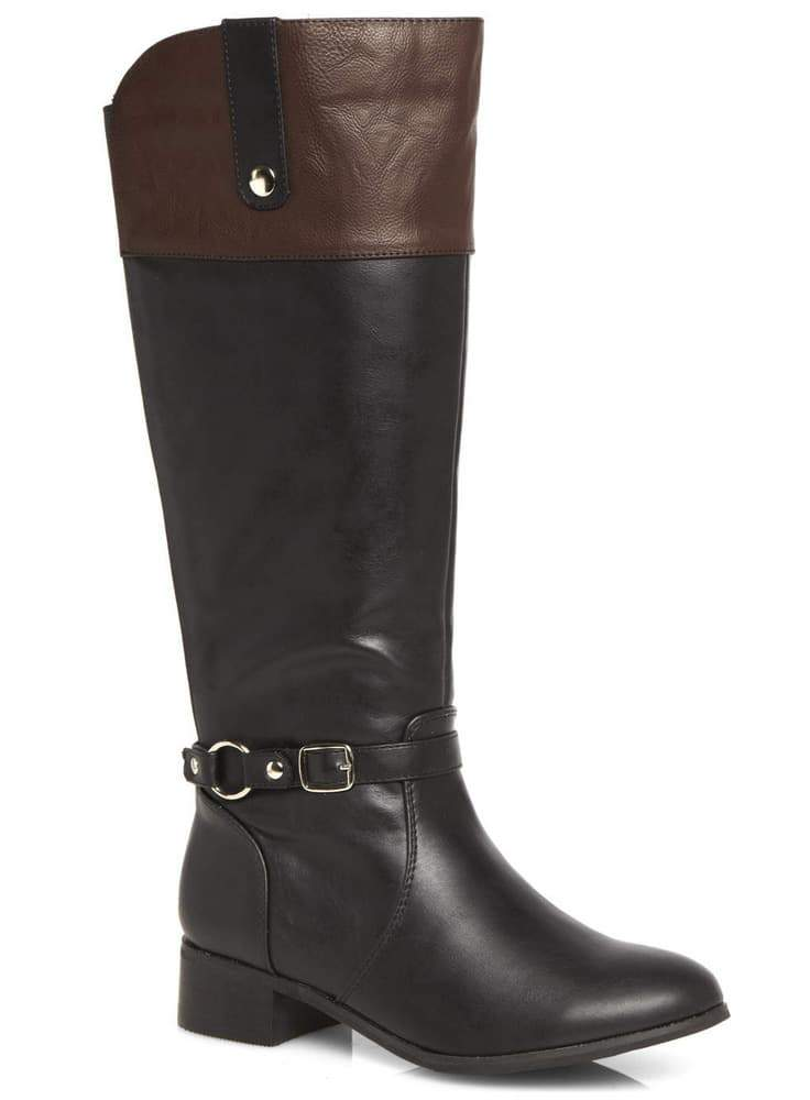 EVANS BLACK AND BROWN CONTRAST WIDE CALF BOOTS