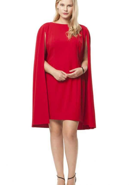 Structured Cape Dress in Red by Adrianna Papell at HeyGorgeous