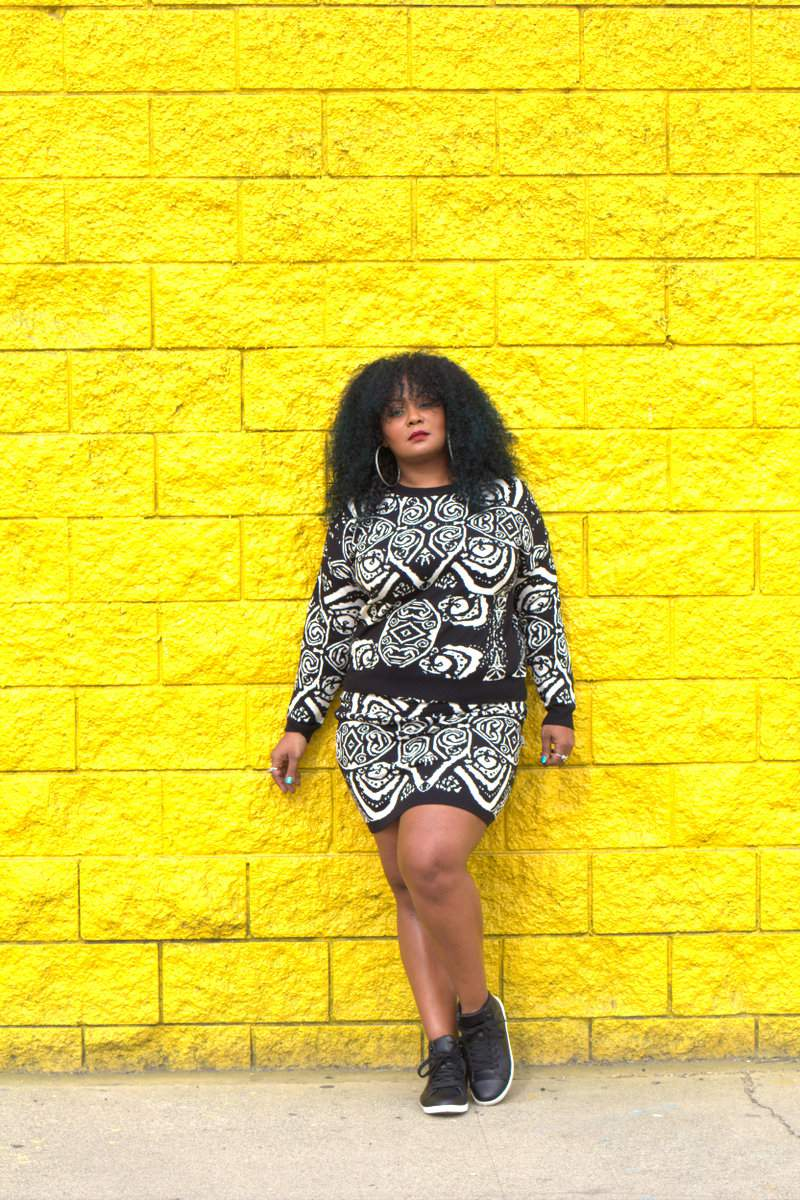 Getting Silly in my Black and White Knit ASOS Curve Set