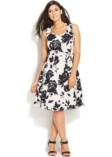 INC Plus Size Floral-Print A-Line Dress on TheCurvyFashionista.com