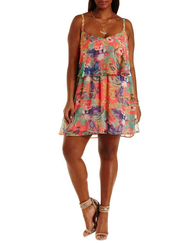 Tropical Print Chiffon Dress on TheCurvyFashionista.com