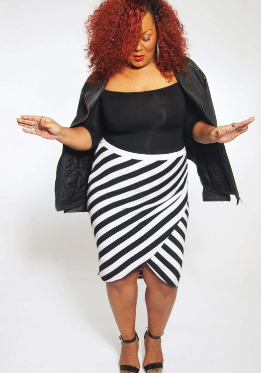 AVA + VIV Striped Skirt on TheCurvyFashionitsa.com