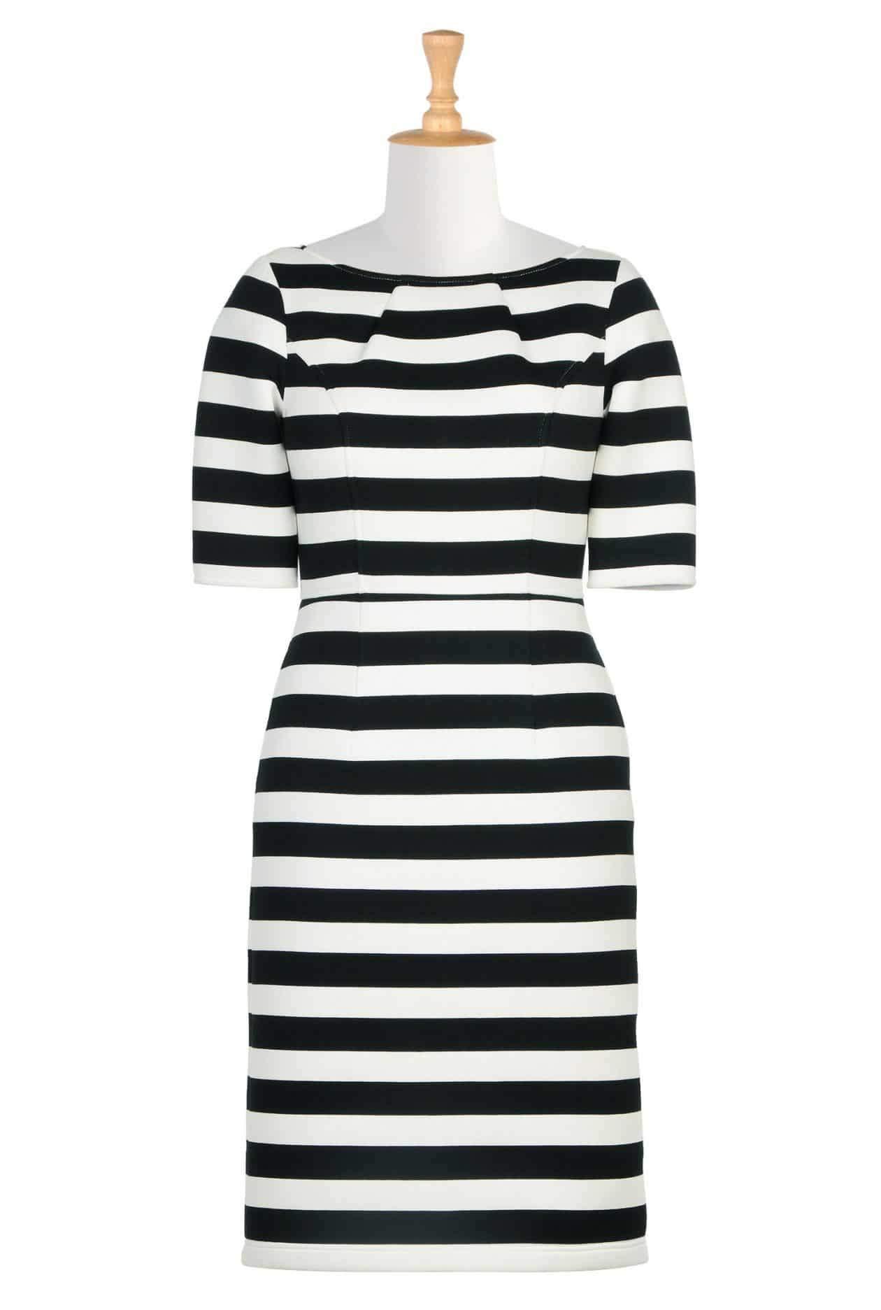 Bold stripe bonded knit dress via TheCurvyFashionista.com