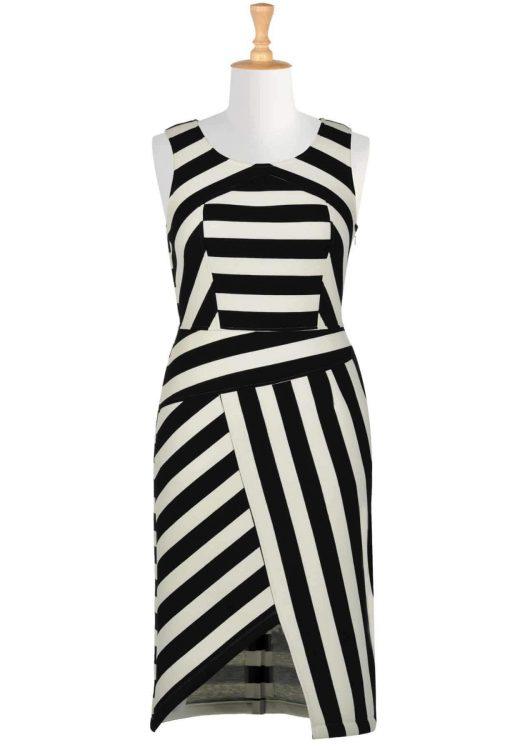 Asymmetrical stripe bonded knit dress via TheCurvyFashionista.com