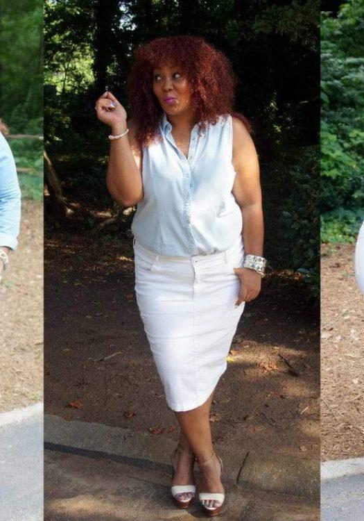 My Style: Denim on Denim on a Plus Size Denim Skirt