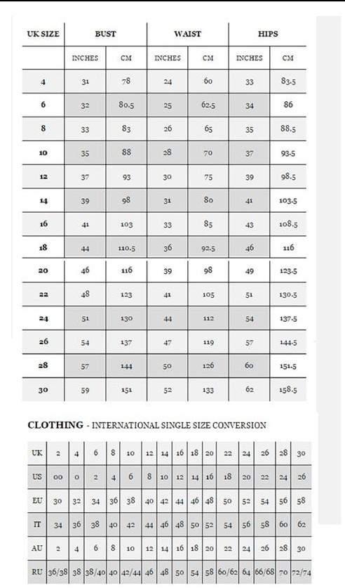 Metamorphoza size chart