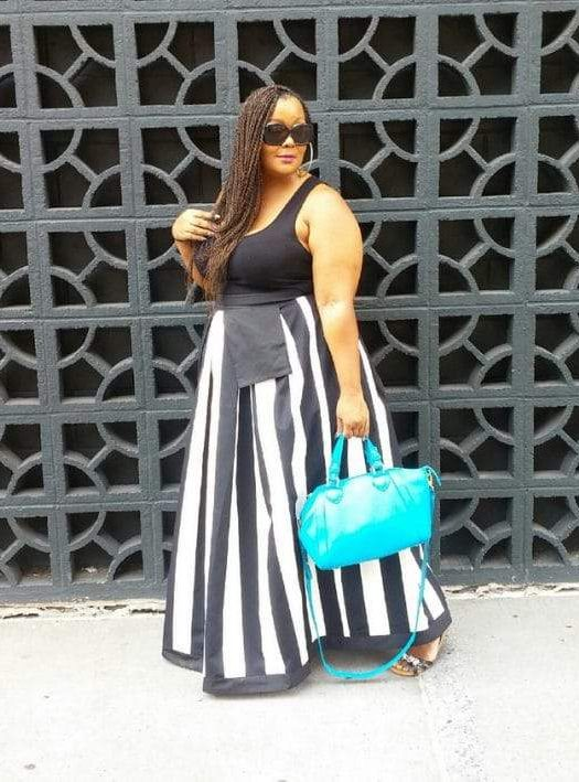 Plus Size Blogger- Marie Denee from The Curvy Fashionista in a Metamorphoza Custom Skirt