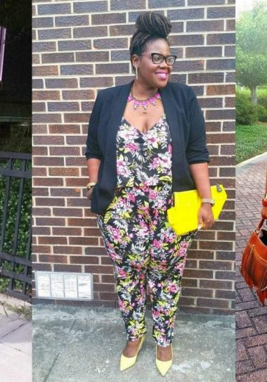 Pretty plus Pep in her favorite plus size jumpsuits