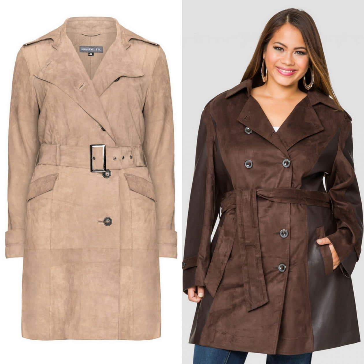 Plus size suede trenchcoats