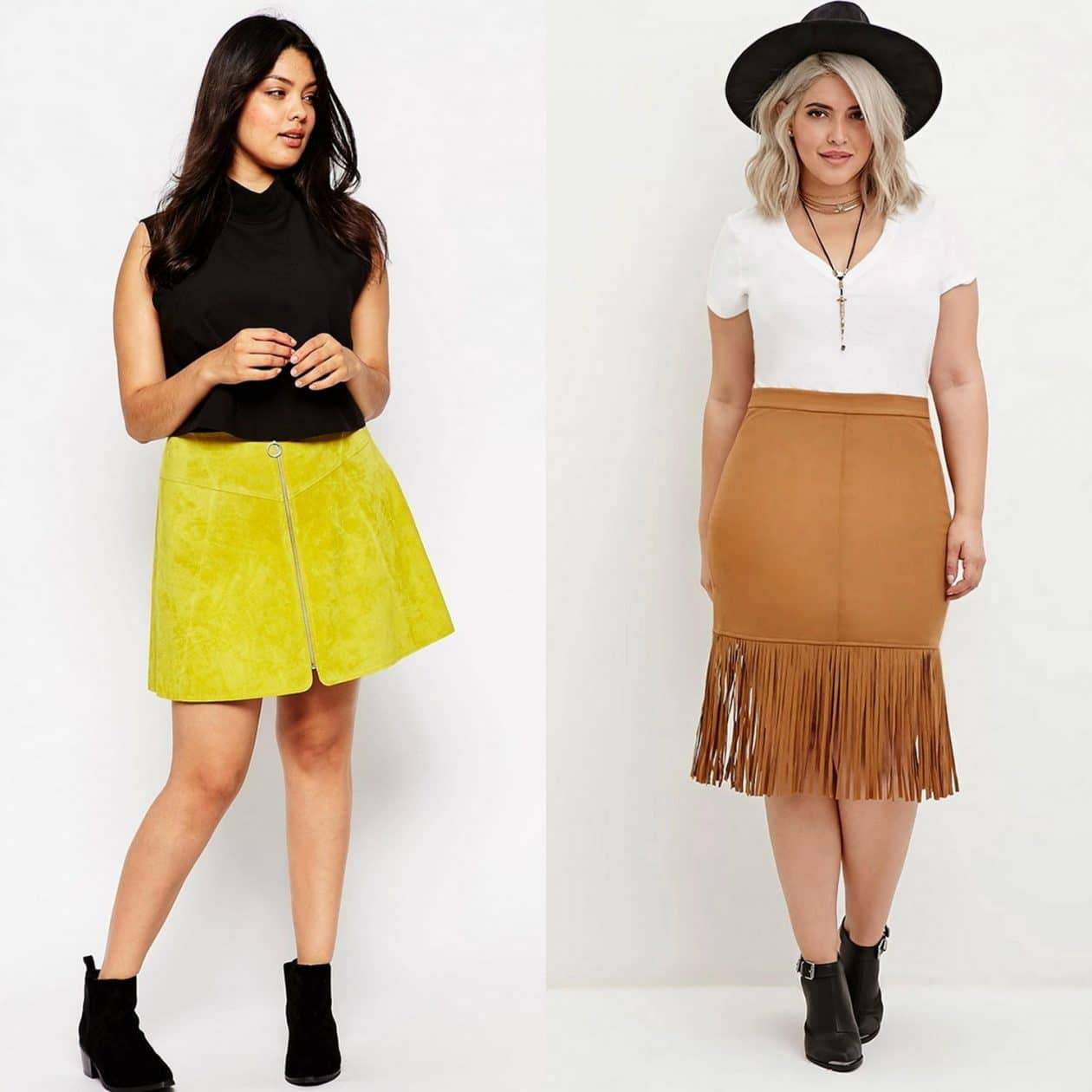 Plus size suede skirts
