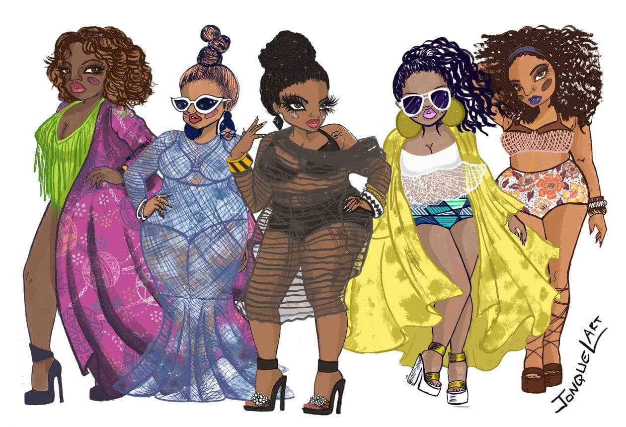 Golden Confidence Pool Party Illustration by Jonquel Norwood Art