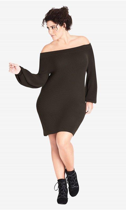 Fall Plus Size Sweater Dresses: Knit Off Shoulder Dress