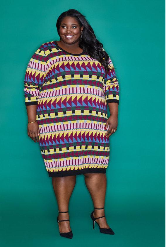 Fall Plus Size Sweater Dresses: Intarsia Sweater Dress