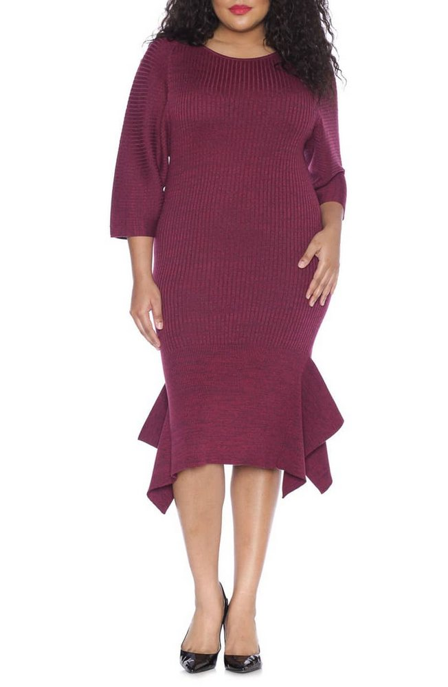 Fall Plus Size Sweater Dresses: Handkerchief Hem Sweater Dress