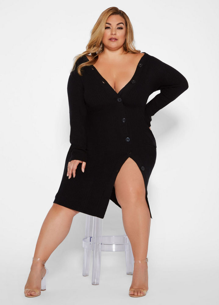 Fall Plus Size Sweater Dresses: Button Front Sweater Dress