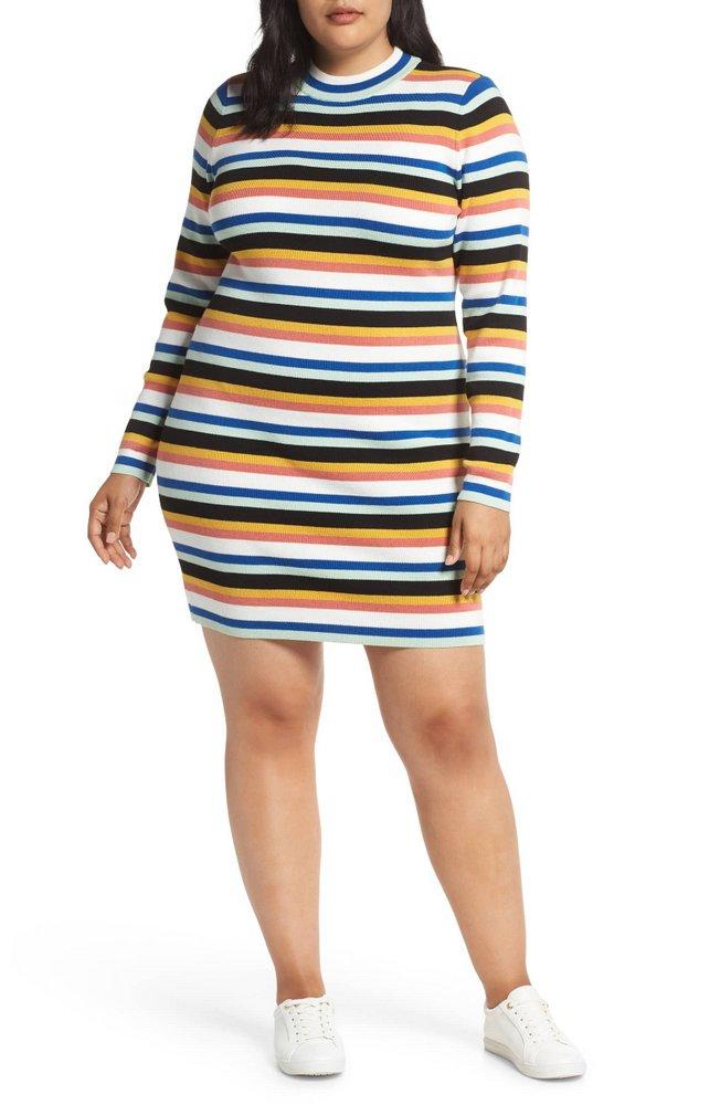 Fall Plus Size Sweater Dresses: BP. Stripe Rib Sweater Dress