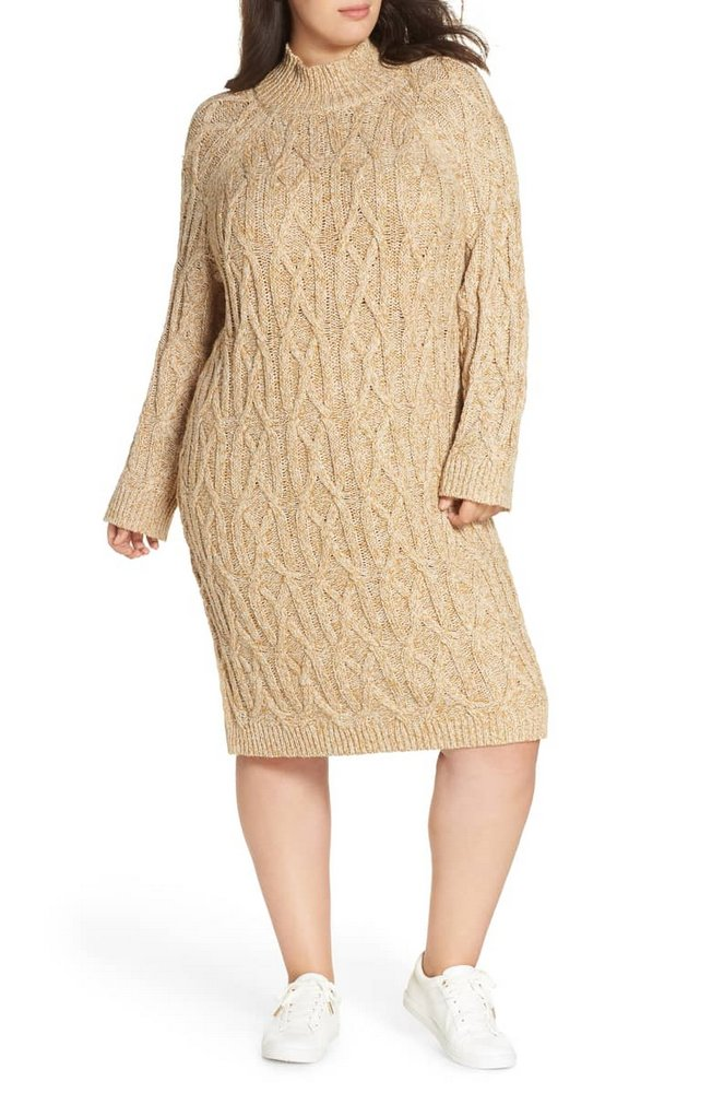 Fall Plus Size Sweater Dresses: BP. Cable Knit Sweater Dress