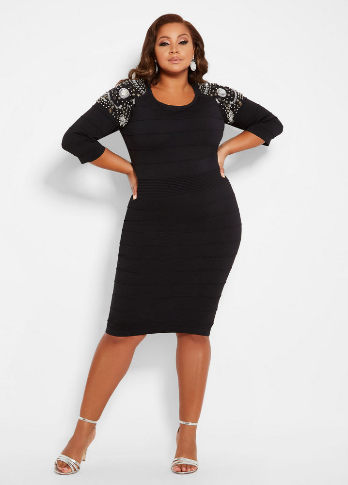 Fall Plus Size Sweater Dresses: Bead Detail Ribbed Sweater Dress