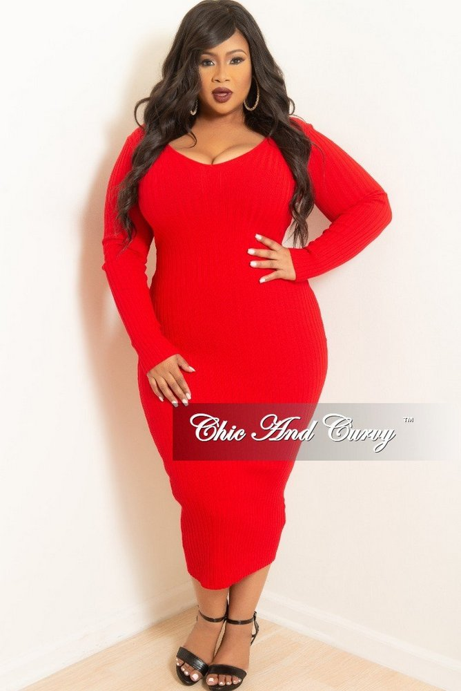 Fall Plus Size Sweater Dresses: Plus Size Ribbed Knit Dress in Red