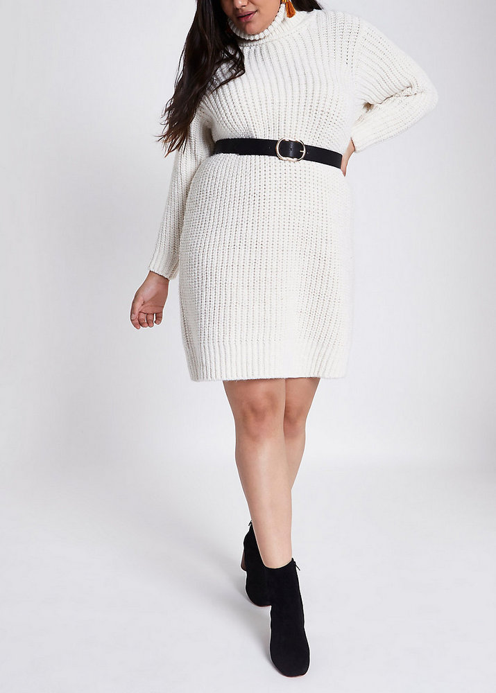 Fall Plus Size Sweater Dresses: Plus cream roll neck sweater dress