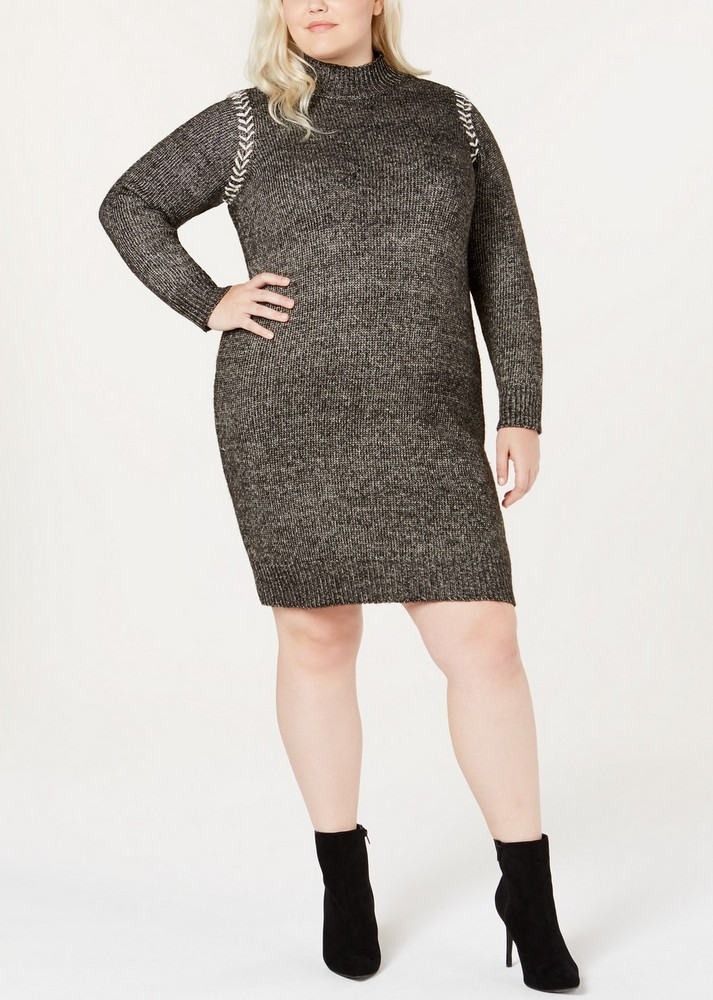 Fall Plus Size Sweater Dresses: One A Plus Size Whipstitched Sweater Dress
