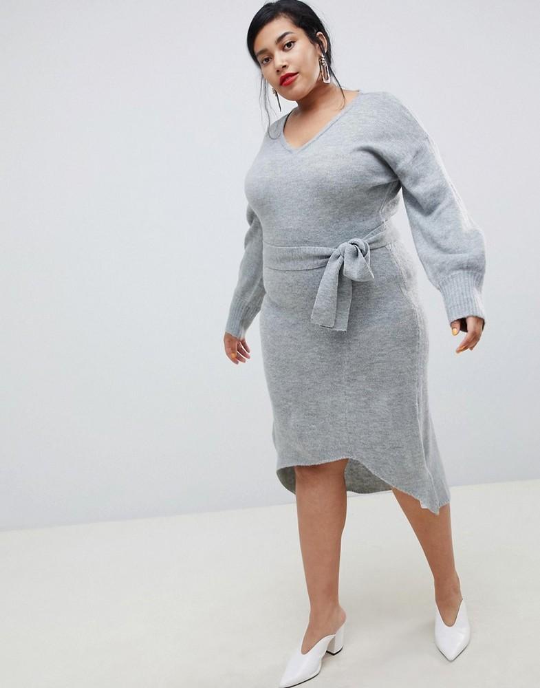 Fall Plus Size Sweater Dresses: Lost Ink Plus Midi Dress With Tie Waist In Fine Knit