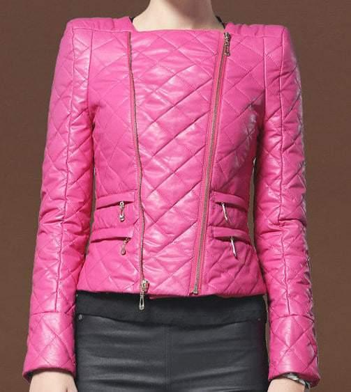 Stylish Collarless Leather Jacket