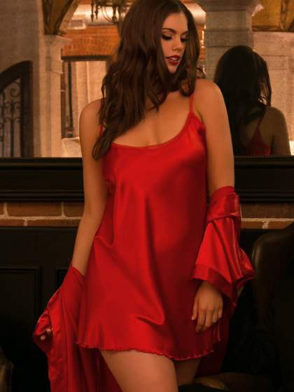 Hips and Curves Plus Size Lingerie: Red Satin Chemise and Robe Set