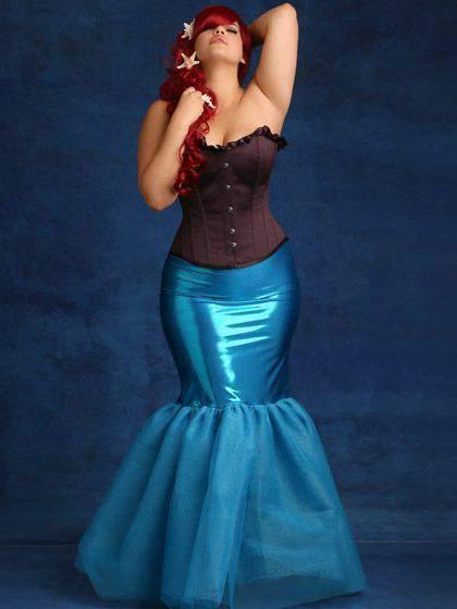 Metallic Trumpet Tulle Mermaid Skirt