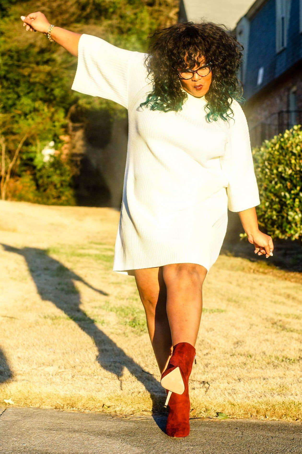 Marie Denee of The Curvy Fashionista in an ASOS Plus size sweater dress