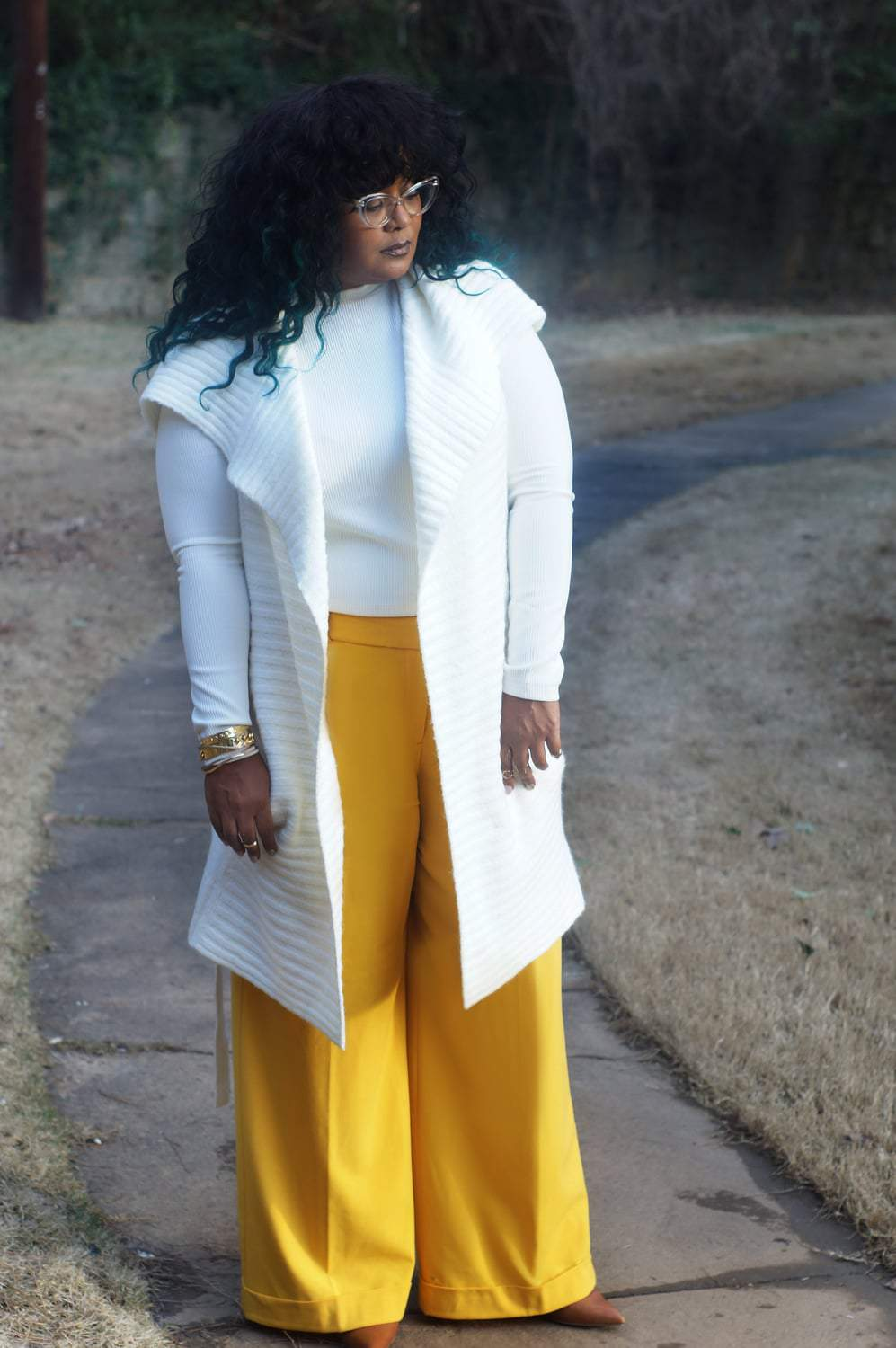 Marie Denee from The Curvy Fashionista in Yellow Plus Size Wide Leg Pants from Lane Bryant (2)