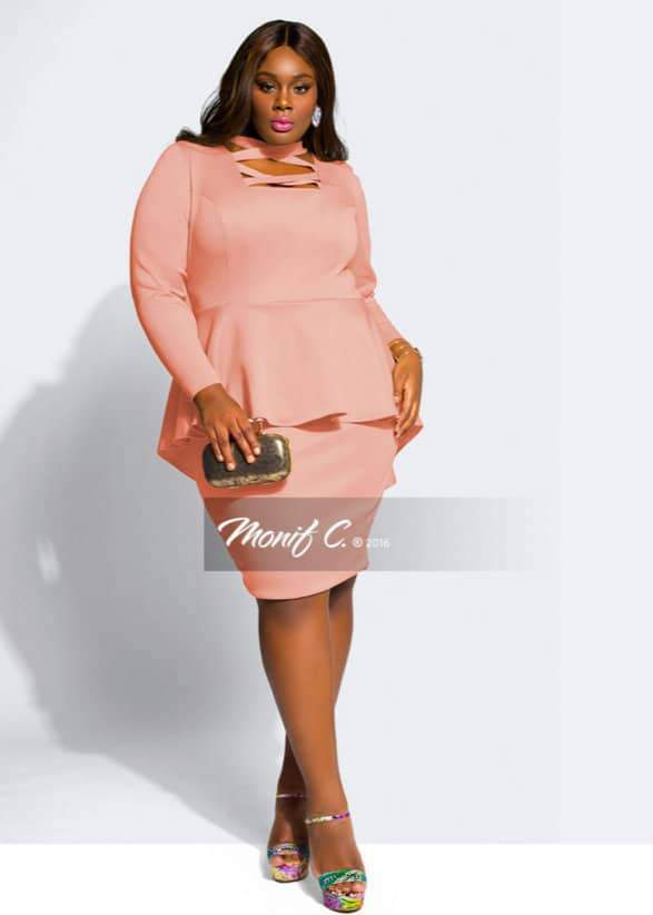 Monif C Plus Sizes Talia Peplum Dress
