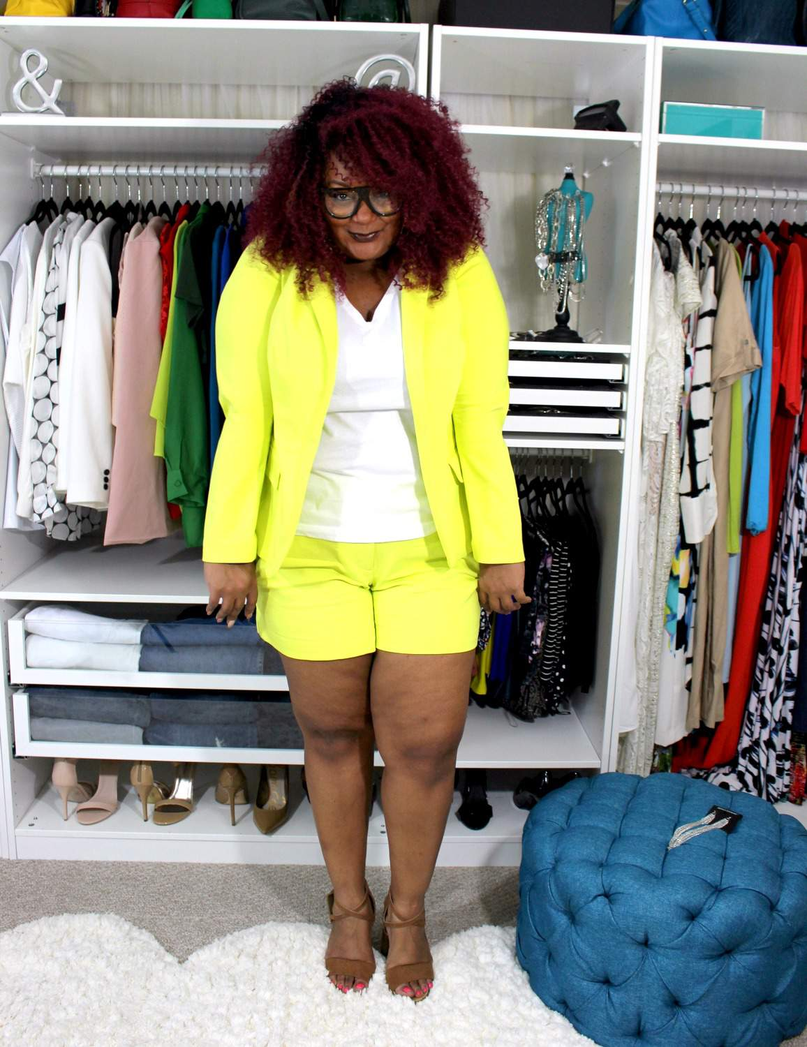 Marie Denee the curvy Fashionista in lane bryant Modernist plus Size Shorts Suit